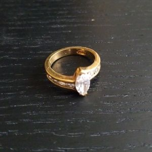 Marquis cut diamond simulant ring